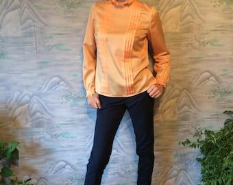 Peach Blouse Vintage 80s Blouse Long Sleeve Blouse Women's Silky Shirt Office Blouse Medium to Large Size Blouse