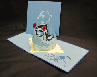 3-D Dolphins Pop-Up Card
