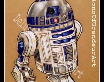 Star Wars R2 D2 art print A5