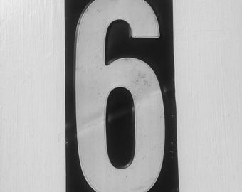 Vintage Metal Painted Number 6 From An American Gas Station,  House Number, Lucky Number, Favourite Number, Birthday