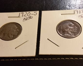 1920 S AND 1918 Buffalo  nickels