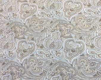 Multi-Color Organic Paisley On Woven Mid-Weight Durable Cotton Blend With Vinyl Backing