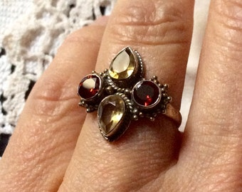 VINTAGE GARNET CITRINE Ring - Beautiful Vintage hand made - Genuine-stones Sterling silver-Antik from France