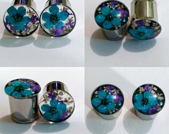 "TEAL PURPLE and WHITE Real Dried Flowers w/ Glitter Plugs Sizes 0g/8mm to 2""/51mm available in single flare or double flare sold in pairs"