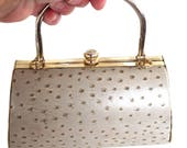Vintage Zeca Leather Minaudiere Taupe Handbag Purse With Gold Tone Metal Handle Frame & Clasp Retro Fashion Bag