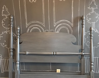 Aged gray cottage poster bed