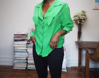 Vintage neon green statement Kenzo silk blouse shirt S/M