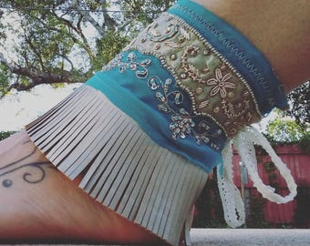 Embroidered and Beaded Turquoise/Blue Ankle Cuffs