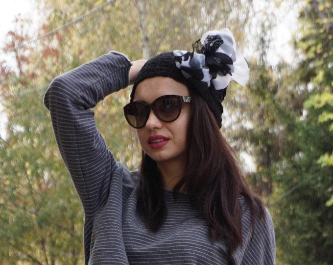 New collection Ribbon Black White Hat / Retro Cotton Lace Ribbon Hat