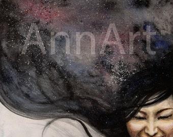 watercolor/printable/instant digital download/original/painting/digital/women/wall decor/print/lady/sky/smile/girl/night/unique