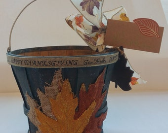 "Fall Wooden Gift or Planter Bucket ""HAPPY THANKSGIVING""  (Blue)"