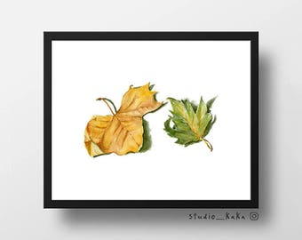 Autumn Leaves == Fine Art Print of Original Watercolour Sketch Painting