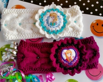 Hand knitted girls headband