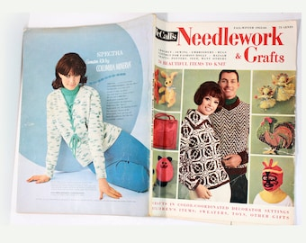 Vintage 60s McCalls Magazine Book, Needlework & Crafts Magazine 1965-66 - MidCentury Craft, Knitting, Sewing Patterns- Vintage Birthday Gift