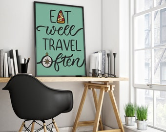 Eat Well Travel Often Travel Print (PDF Downloadable File)
