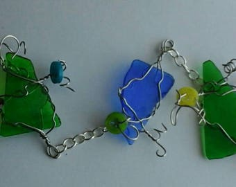 Coloured glass suncatcher with buttons