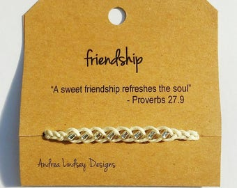Friendship Bracelet - Crystal Clear Seed Beads - Braided Brown Cord - Quote