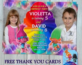 Trolls Sibling Invitation, Trolls Double Birthday Party Invitation Card, Personalized Digital Printable File