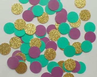 "Small Sea Green, Purple and Gold Glitter circle confetti 5/8"" (150 pieces) round, Decor, Wedding, Birthday, Under the Sea"