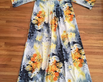 Spring Sale  - Vintage psychedelic watercolour maxi dress