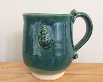 Hand Made Clay Mug, Shell decorations