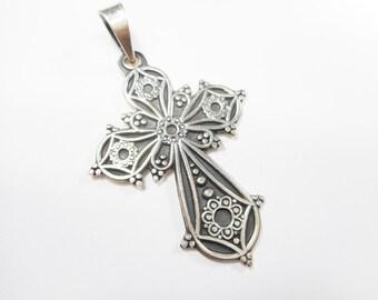Taxco Cross, Taxco Pendant, Sterling Cross, Cross Pendant, Genuine Ornate Taxco 950 Sterling Silver Cross Pendant TV-02 #2296