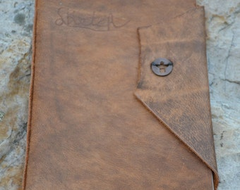 Brown Leather Hand Stitched Journal/Sketchbook With Penny Closure