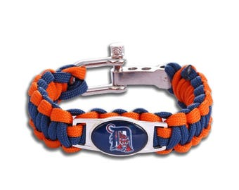 Detroit Tigers Paracord Survival Bracelet with Adjustable Shackle