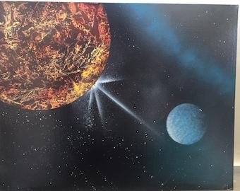 Fire Planet-Original Spray Paint Art