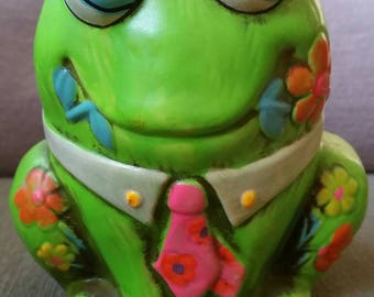Vintage 1968 Holiday Fair Trippy Frog Bank Psychedelic Money Hippie Japan Japanese Kids Toy Collectible Toad