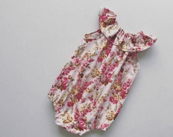 Floral pink seaside ruffleneck romper playsuit 0000-2