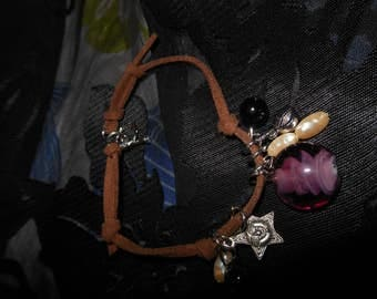 Charm Bracelet on Brown soft cord