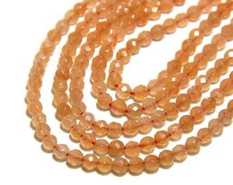 Natrual Peach Aventurine Beads Faceted 3mm Peach Gemstones Tiny Light Orange Beads Small Peach Beads Orange Spacer Beads Peach Delicate Bead