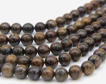 Natural Bronzite Beads 6mm 8mm Genuine Brown Gemstone Beads Brown Mala Beads Dark Brown Beads Coffee Beads Bronzite Bracelet Necklace Supply