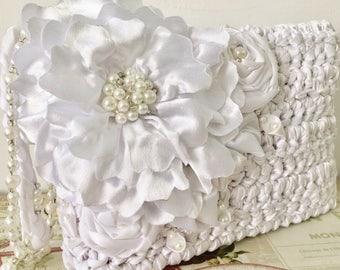 White Wedding Clutch Bridal Clutch Flower Clutch White Bag Clutch Bag Handmade Wedding Clutch Satin Purse  Bridal Bag FREE SHIPPING