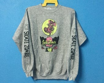 Rare!!vintage 80s skate zombi zorlac sweatshirt