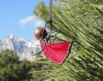 Stained Glass Red Guardian Angel Suncatcher Ornament Valentine's Day Decor Gift