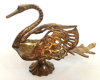 Vintage Brass Swan Ashtray