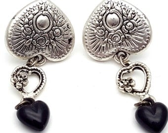 Heart and Rose Silver Tone Black Platic Drop Earrings Vintage from the 90s Grunge Rock Country Dance Flowers Dangle Lightweight Daisy Party
