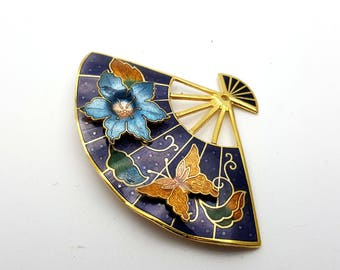 Dainty Fan with Flower and Butterfly Brooch Gold tone metal Vintage from the 60s Enamel Finish Ventilation Statement Pin