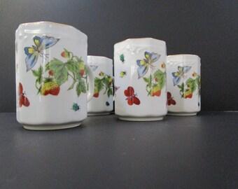 House of Ardalt Mugs Set of 4 / Strawberries and Butterflies / Ardalt Lenwile Porcelain Mugs