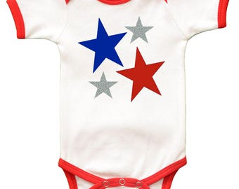 Short Sleeve Onesie - Red White Blue Stars