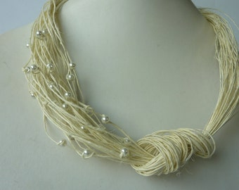 White pearls linen necklace.Linen Jewellery. Organic Gift for Her
