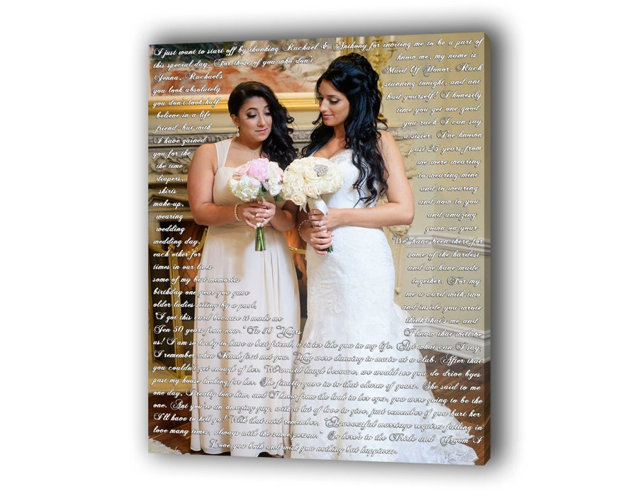 Wedding Gifts For Maid Of Honor: Maid Of Honor / Best Man Speech Canvas As After Wedding Gift