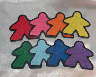 New Embroidered Classic Meeple Rainbow Set of 8 Board Gamer Patch Sew On Iron On