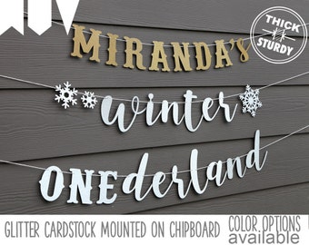 winter ONEderland banner with custom name, with snowflakes, winter 1st birthday, glitter party decorations, cursive banner, regular size