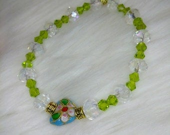 Beautiful Green and Clear Crystal Heart Bracelet