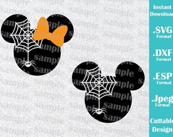 INSTANT DOWNLOAD SVG Disney Inspired Halloween Spider Minnie and Mickey Ears Cutting Machines Svg, Esp, Dxf, Jpeg Format Cricut Silhouette