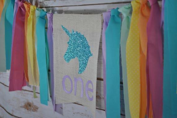 UNICORN BIRTHDAY BANNER, Unicorn Highchair Banner, Unicorn First Birthday, Rainbow Birthday Banner