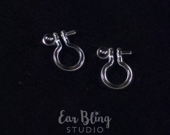 Pair of Invisible Clip On Earring Findings with Post for Half-Drilled Beads.